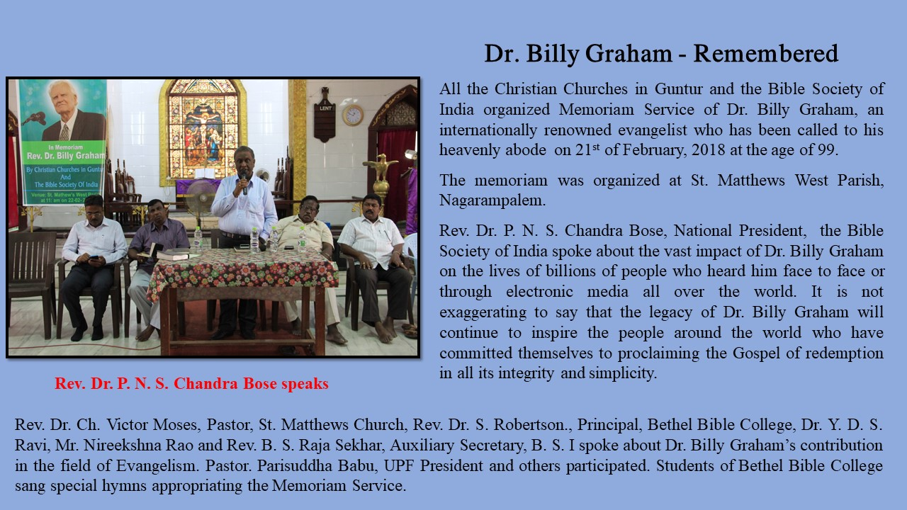 Dr. Billi Graham Remembered